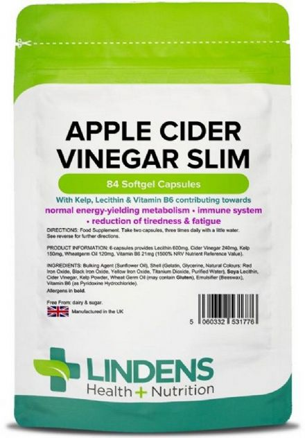 Apple Cider Vinegar Slim (KLB6) x 84 Capsules; Weight Loss; Lindens